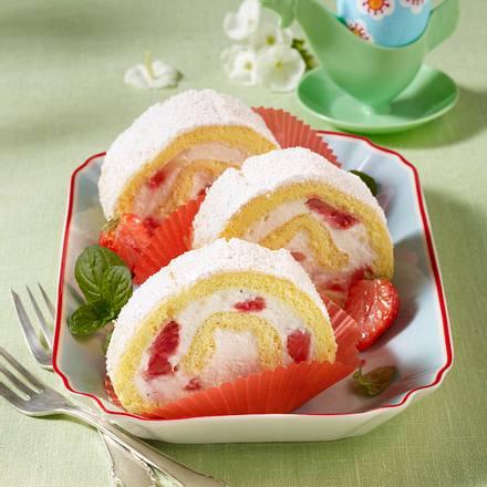 Erdbeer-Vanille-Rolle Rezept