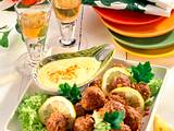 Erdnuß-Hackbällchen mit Curry-Dip Rezept