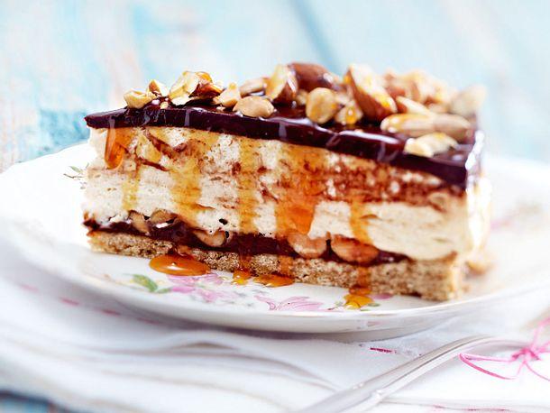 Erdnusscreme-Cheesecake mit Schoko und Karamell Rezept