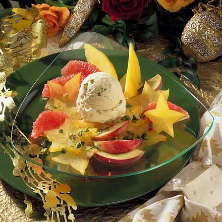 Exotische Früchte mit Vanille-Eis Rezept
