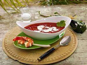 Exotische Tomatensuppe mit Garnelenspießen (Promidinner Dschungelcamp Vorspeise Jay Khan) Rezept