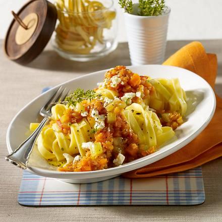 Express-Pasta mit roten Linsen Rezept