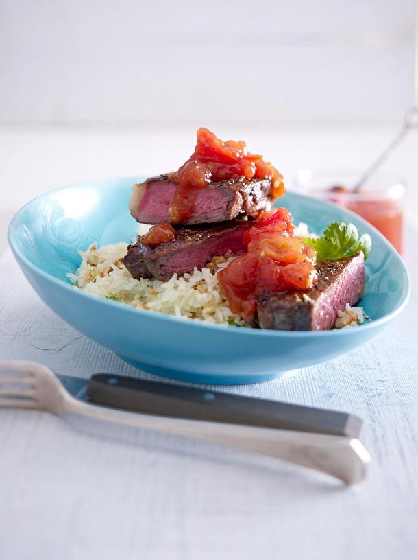 Rumpsteak mit Tomatenkonfitüre und Knoblauchreis Rezept