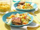 Farfalle in Gemüse-Sahnesoße mit Mini-Schnitzeln Rezept