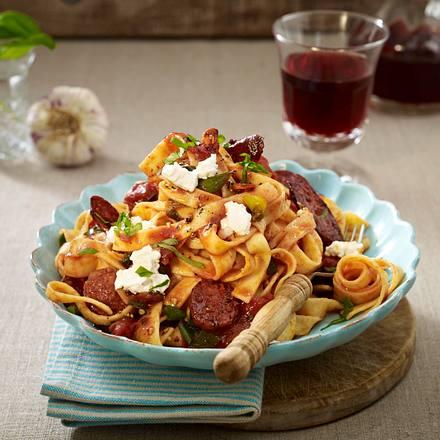 Fast-wie-Urlaub-Pasta mit Chorizo und Vino Rezept