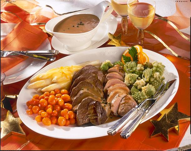 Feine Filetplatte mit buntem Gemüse und Kroketten Rezept