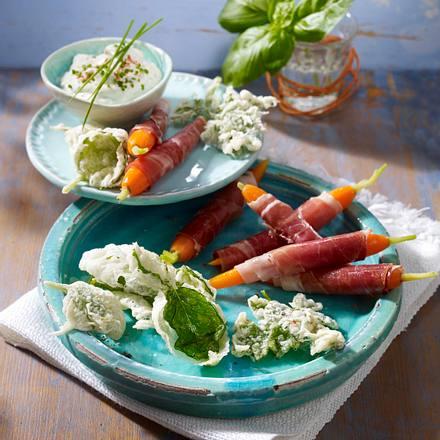 Feine Kräuter-Snacks (Kräuterchips und Parmaschinken-Röllchen) Rezept