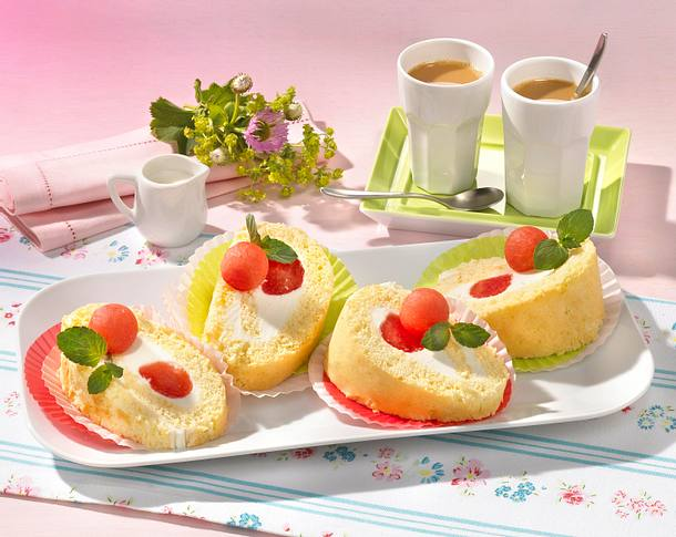 Feine Melonen-Biskuitrolle (Diabetiker) Rezept