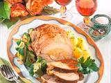 Feine Schnitzel-Zwiebelrolle mit Mandel-Broccoli Rezept