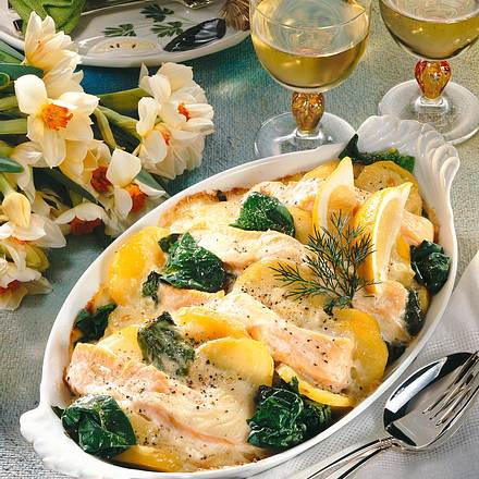 Feiner Lachs-Kartoffelauflauf Rezept