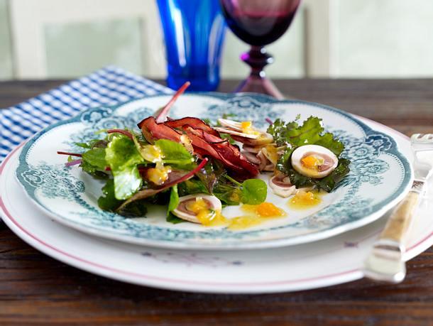 Feiner Salat mit Knusperschinken und Sükartoffel-Vinaigrette Rezept