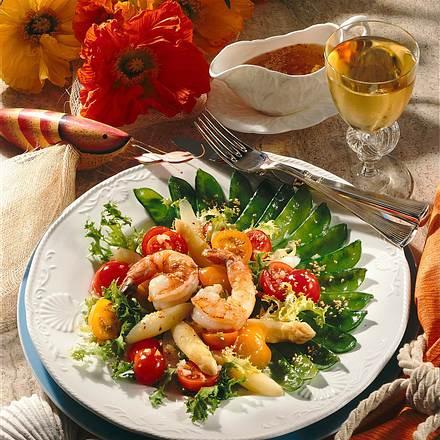 Feiner Salat mit Riesengarnelen in Sesam-Vinaigrette Rezept