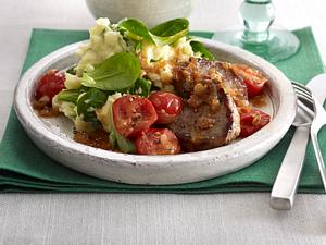 Feldsalat-Kartoffelstampf zu Medaillons Rezept