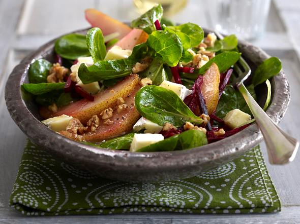 Feldsalat mit Brie und Honigbirnen Rezept