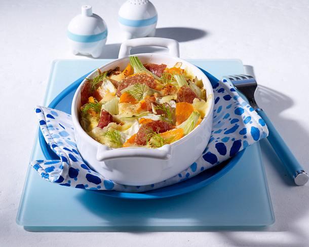 Fenchel-Gratin mit Möhren und Salami Rezept