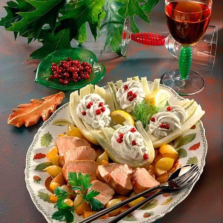 Fenchel mit Käse-Quarkcreme und Schweinefilet  Rezept
