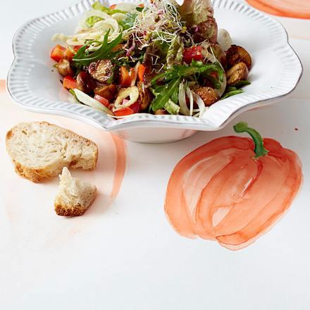 Fenchel-Pilz-Salat mit Haselnussdressing Rezept