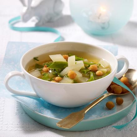 Festliche Gemüsesuppe mit Backerbsen Rezept