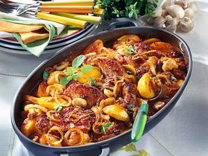 Feurige Zwiebel-Koteletts mit Pilzen Rezept