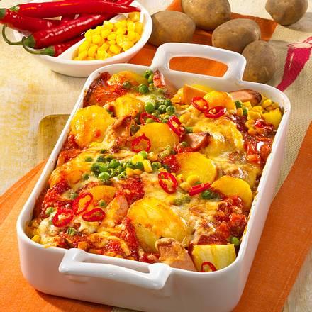 Feuriger Kartoffel-Auflauf mit Fleischwurst Rezept