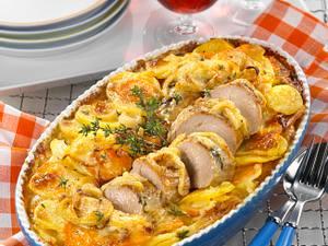 Filet-Kartoffelgratin mit Zwiebelkruste Rezept