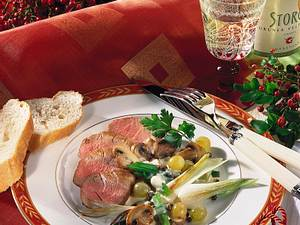Filet mit Trauben-Pilzgemüse Rezept