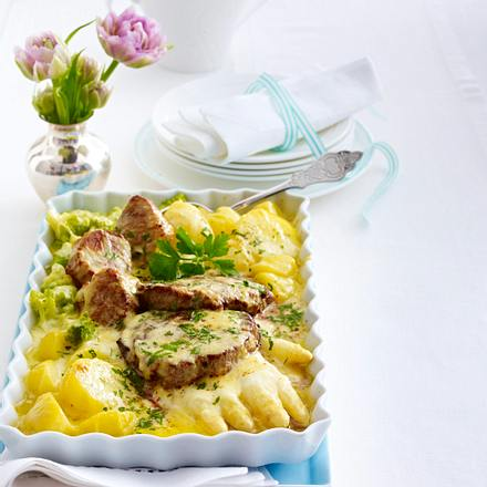 Filet-Pfännchen unter Käsebechamel-Haube Rezept