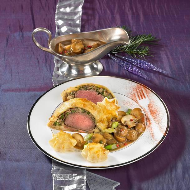 Filet Wellington mit Rahmchampignons Rezept