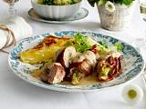 Filetröllchen in Frischkäsesoße zu Kartoffelgratin und Kohlrabi-Erbsen-Gemüse Rezept