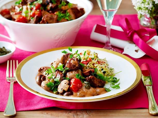 Filetspitzenragout und Paprika-Pesto-Reis Rezept