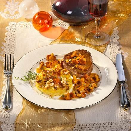 Filetsteaks mit Pfifferlingen & Gratin Rezept