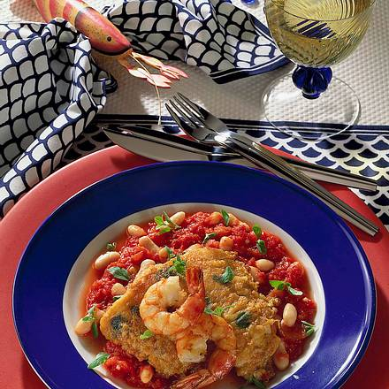 Fisch auf Tomaten-Bohnen Rezept