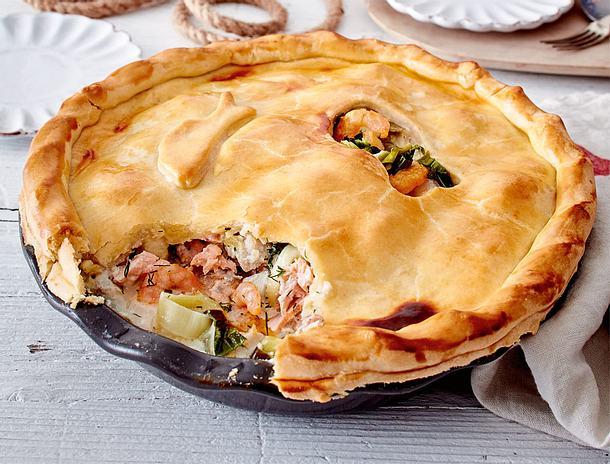 Fisch-Garnelen-Pie mit Dill-Honig-Soße Rezept