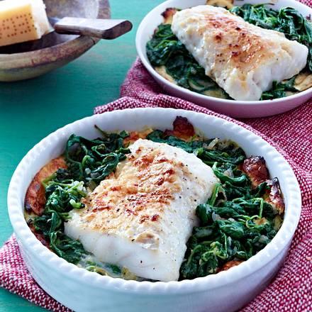 Fisch-Gratin mit Spinat Rezept