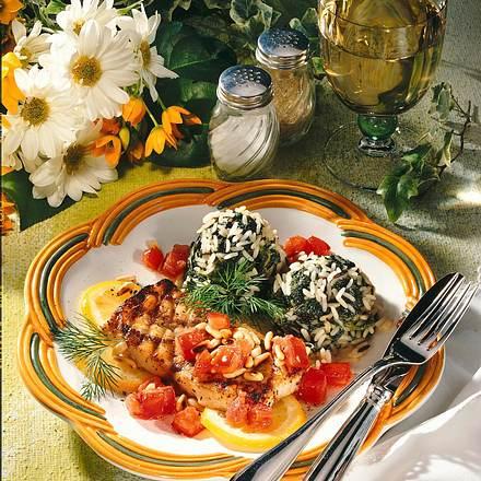 Fisch-Grillets auf Florentiner Reis Rezept