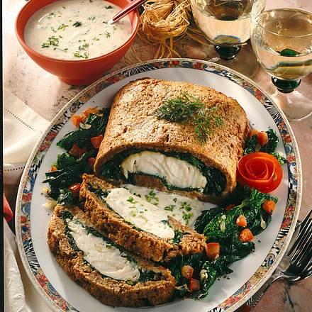 Fisch in Brot-Spinat-Kruste Rezept