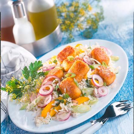 Fisch-Nuggets zu Reissalat Rezept