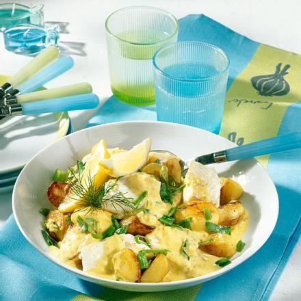 Fisch-Pfanne mit Joghurt-Senfsoße Rezept