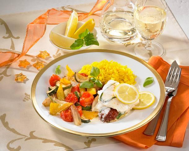 Fisch-Saltimbocca mit feinem Ratatouille Rezept