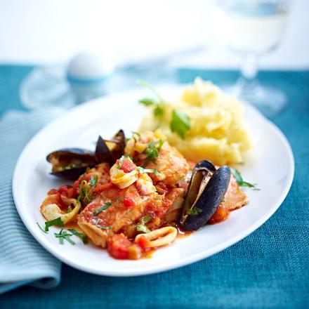 Fisch-Stew mit Safran-Kartoffelpüree Rezept