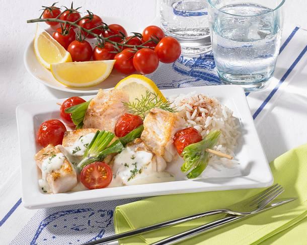 Fisch-Tomaten-Spieße Rezept