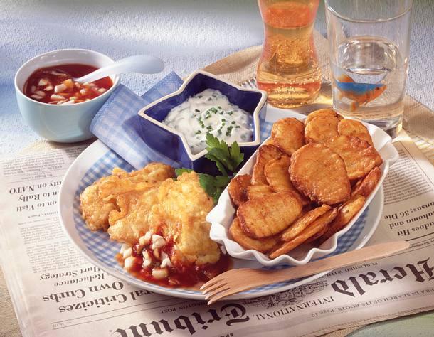 Fisch & Chips mit würzigen Dips Rezept
