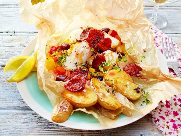 Fischbomben mit Chorizo & Thymiankartoffeln Rezept