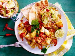 Fischcurry mit Gurkensalat (Salat mit Chiliöl F85167) Rezept