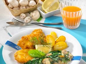 Fischfilet in Eihülle zu Rahm-Spinat Rezept