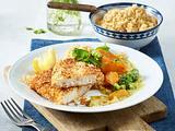 Fischfilet in Sesam-Panade mit Möhren und Brokkoli in Currysoße Rezept