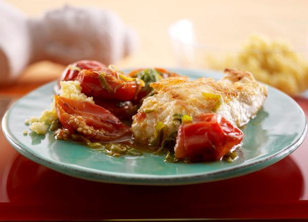 Fischfilet mit geschmolzenen Vanilletomaten Rezept