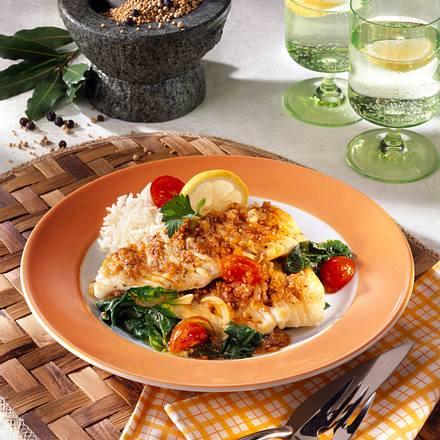 Fischfilet mit Gewürz-Zwiebel-Kruste Rezept