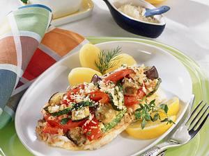 Fischfilet mit Kräuter-Gemüsekruste aus dem Ofen (Diabetiker) Rezept