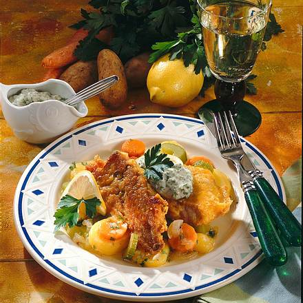 Fischfilet mit Möhren-Kartoffelsalat Rezept